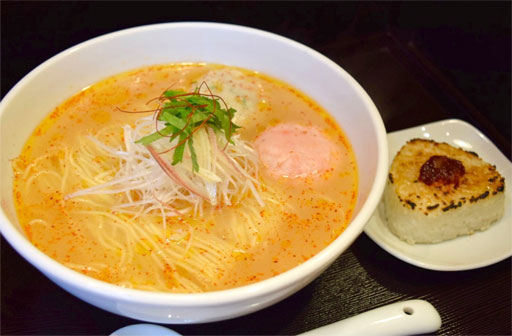 "Spicy Seafood base RAMEN with ""Heshiko Yaki"" rice ball"